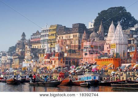 colorful main ghat in varanasi