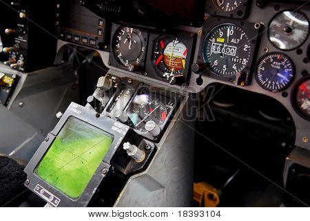 F16 fighter plane cockpit