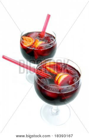 two glasses with spanish sangria to enjoy summer