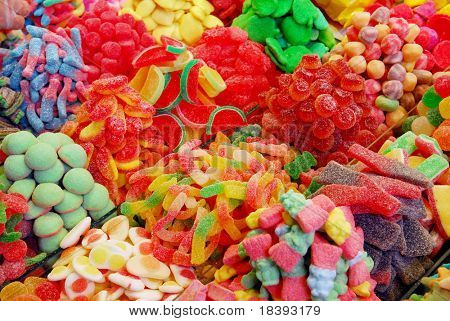 colorful assortment of candy at boqueria market in barcelona