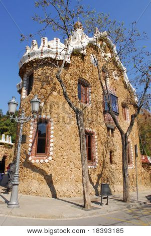 Ginger bread house designed by Gaudi in Park Guell, Barcelona