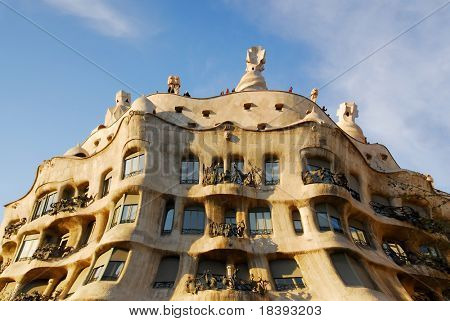 Casa Mila or La Pedrera exterior with lots of curves, Barcelona, Spain