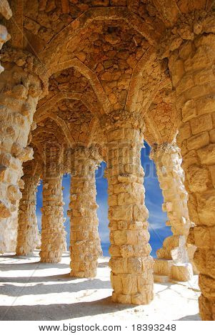 Stone columns in Park Guell, Barcelona