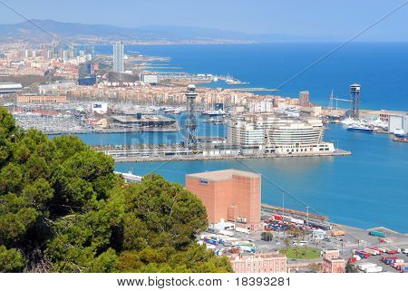 View over Barcelona harbor with world trade center