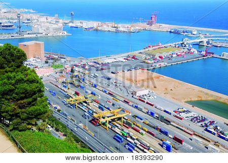 View over Barcelona harbor and world trade center