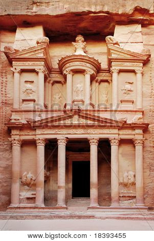 Treasury of world wonder Petra in Jordan