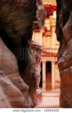 Treasury of world wonder Petra in Jordan seen through the Siq