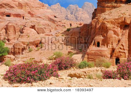 Caves in lost city of world wonder Petra, Jordan