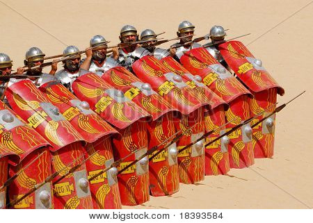 Roman soldiers in defence position during Roman show in Jerash, Jordan