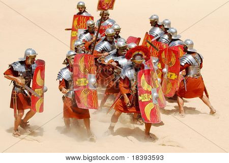 Roman soldiers fighting during Roman show in Jerash, Jordan