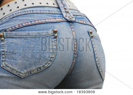 Sexy female butt in stone washed jeans, isolated on white background