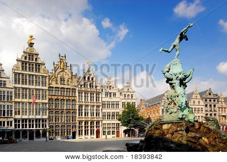Faces of Antwerp: brabo fountain with old facade houses in the background