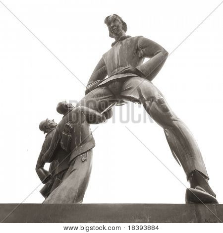 Bronze statue of giant Antigoon, legend of Antwerp, Belgium isolated on white