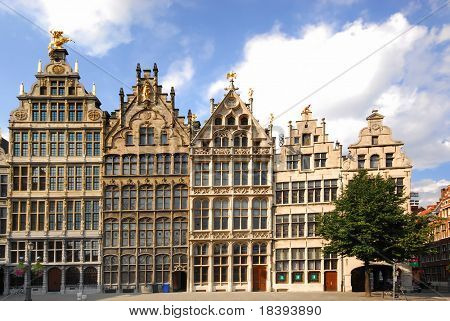 Facades of monumental houses in the city center of Antwerp, Belgium