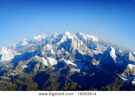 View from a plane on surface of the earth with himalaya mountain landscape