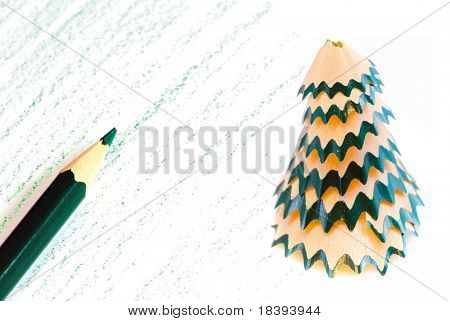 Creating a christmas card with a pencil and pencil sharpener