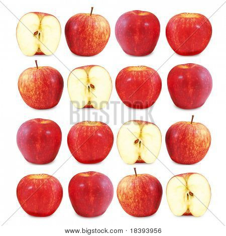Red apples and one cut in half lined up on square white background (4 in a row)