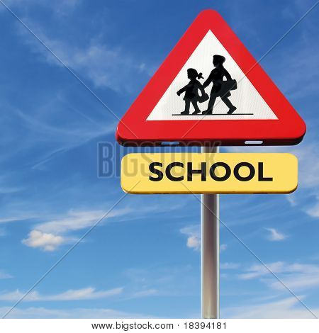 Back to school: roadsign with warning for crossing school-kids on square blue sky background