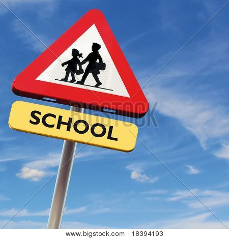 Back to school: roadsign with warning for crossing schoolkids on square blue sky background