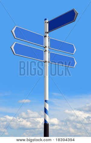 Conceptual blue roadsign with empty direction arrows for business solutions or locations, on blue sky background (with clipping path)