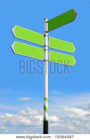 Conceptual green roadsign with empty direction arrows for business solutions or locations, on blue sky background (with clipping path)