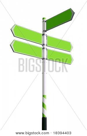 Conceptual green roadsign with empty direction arrows for business solutions or locations, isolated on white background (with clipping path)