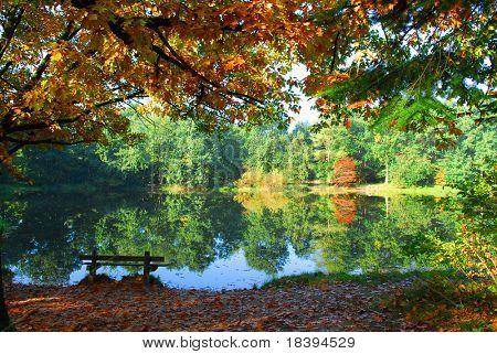 Lago em tempo de outono com o reflexo das árvores de Outono colorido e um banco solitário para desfrutar de tranquilidade