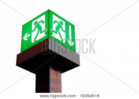 Emergency exit sign in a building glowing green light isolated on white background