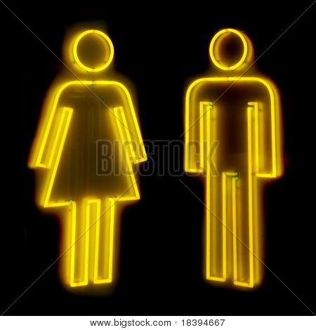 Neon sign for male and female toilets