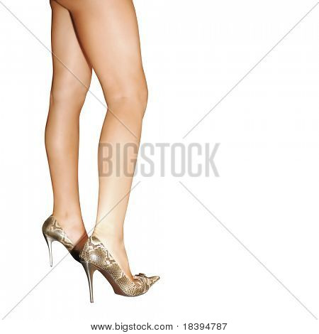 Sexy female legs with high heels isolated on square white background