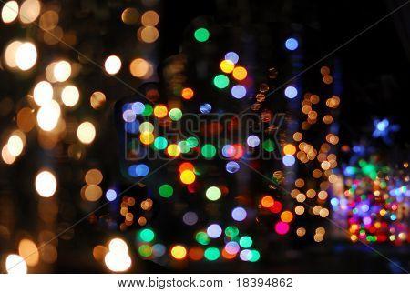 Colorful bokeh of christmas lights