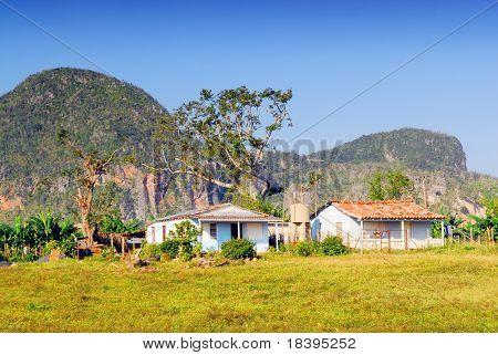 Kleines Bauernhaus in das Tal von Vinales in Pinar del Rio, berühmt für Tabak und Bananen plantatio