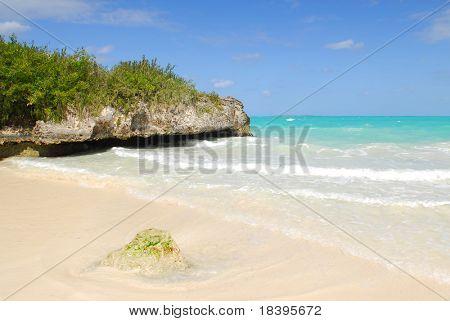 Mangroven und Felsen am tropischen Strand von Cayo Las Brujas auf der Karibik Insel Kuba