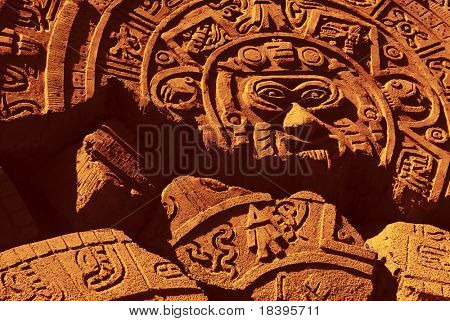 Ruin of a ancient aztec calendar