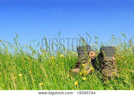 hiking boots in green meadow with blue sky background