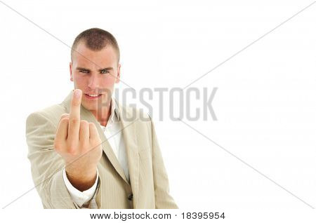 Upset businessman giving the middle finger, isolated on white background