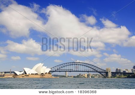 SYDNEY - NOV 24: The Sydney skyline featuring the Sydney Opera House and Harbour Bridge on Nov 24, 2009 in Syndey, Australia.