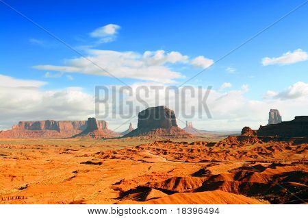 Orange landscape Monument Valley right before sunset