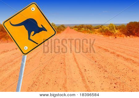 Australian kangaroo roadsign in red outback landscape