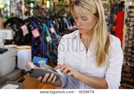 Woman Making Debit Payment