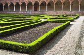 stock photo of carthusian  - Certosa di Pavia inner garden monastery detail - JPG