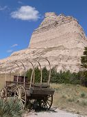 pic of western nebraska  - An old wagon and rock formation in Scottsbluff National Monument located in western Nebraska - JPG