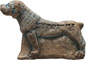 stock photo of sumerian  - Mesopotamian Iron Age clay mastiff dog from Nineveh in Assyria - JPG