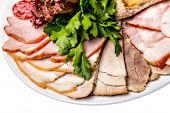 Assorted Deli Meats - Ham, Sausage, Salami, Parma, Prosciutto, Bacon poster