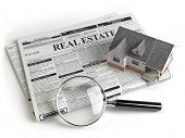Real estate classifieds ads newspaper with house and magnifying glass isolated on white. 3d illustra poster