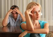 stock photo of conflict couple  - Conflict between the man and the woman - JPG