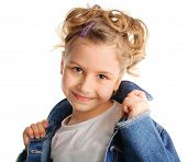 pic of cute little girl  - Beautiful little girl isolated on white background - JPG