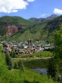 stock photo of rocky-mountains  - The town of Telluride Colorado rests in the heart of the Rocky Mountains - JPG