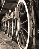 stock photo of train-wheel  - Transportation Steam Train Wheels track Sepia 01 - JPG