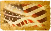 image of headstrong  - An Old and worn American flag Transposed onto a classic Parchment background - JPG